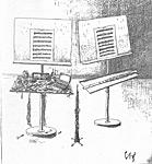 Oboe- och flöjtnotställ, teckning av Erik Frieberg