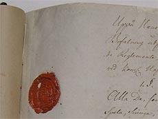 Kungliga Theaterns Reglemente 14 november 1772, sigill.
