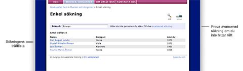 Enkel sökning i databasen