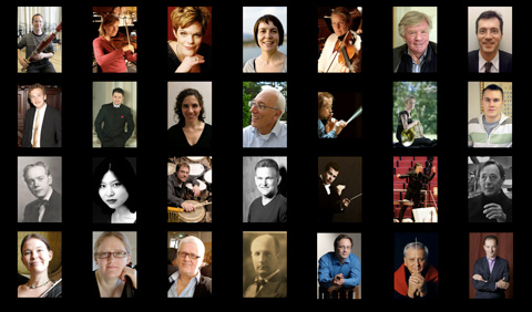 Kontaktkarta med foton på hovkapellister och dirigenter
